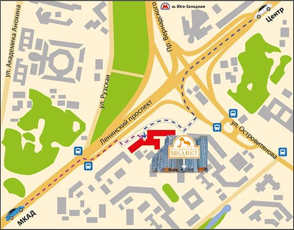 Схема проезда на автомобиле до центра МедВет