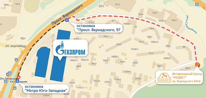 Схема проезда до ветцентра на проспекте Вернадского